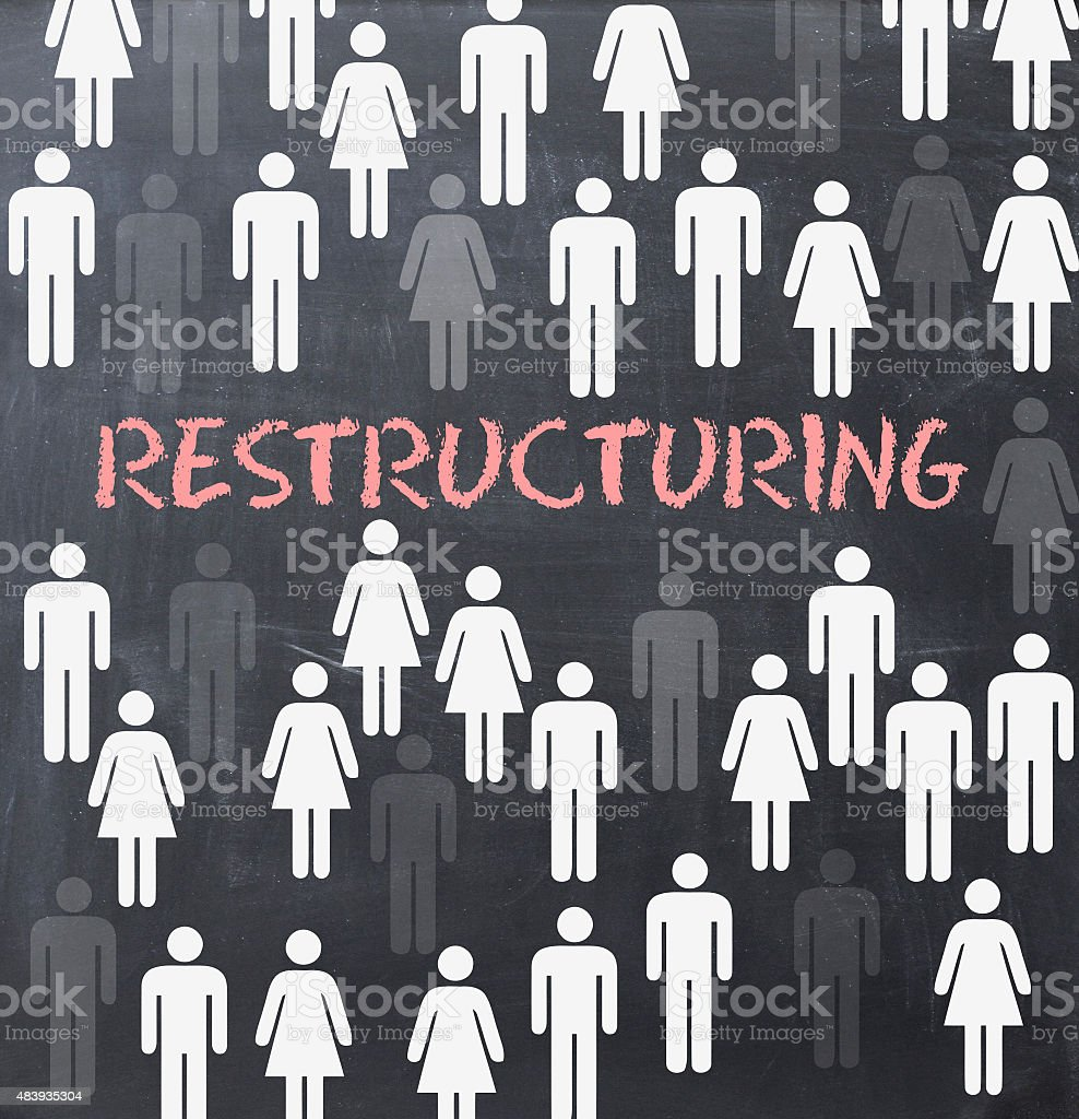 Restructuring process concept on blackboard stock photo