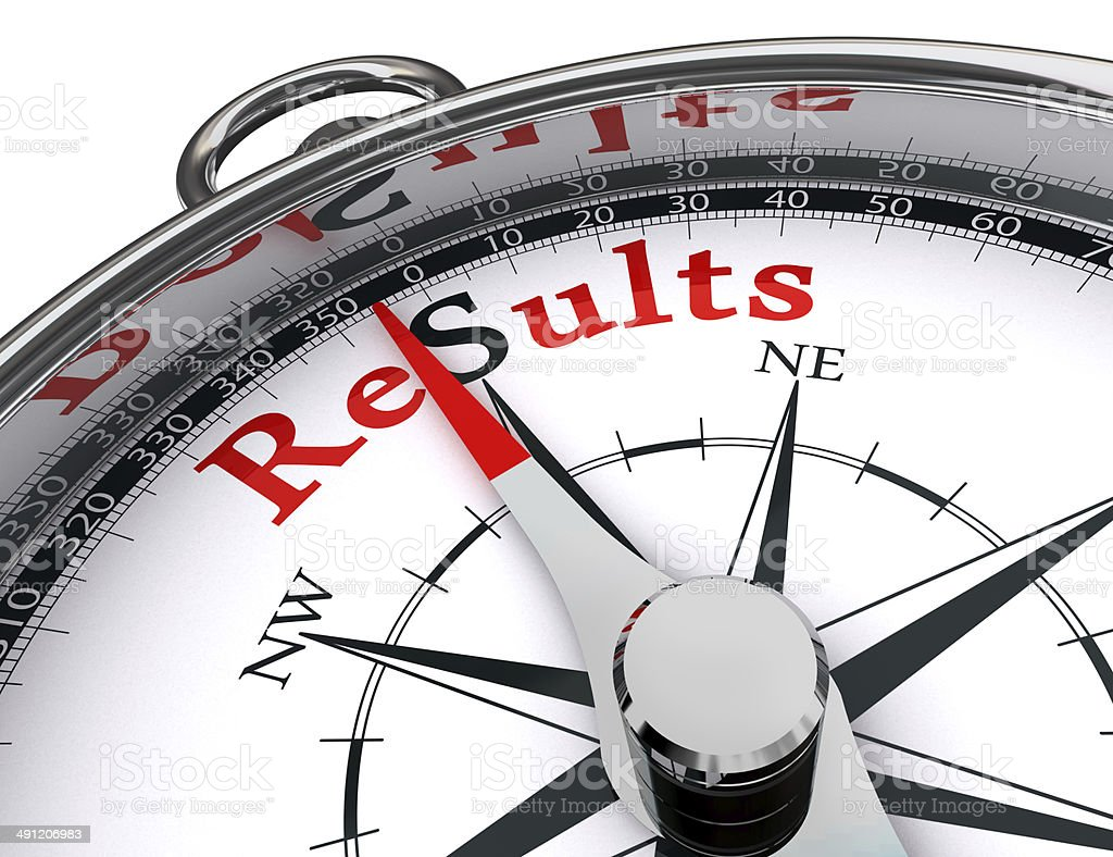 results compass conceptual image stock photo