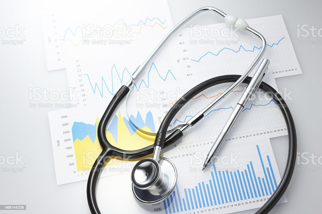Results of a medical and stethoscope. stock photo