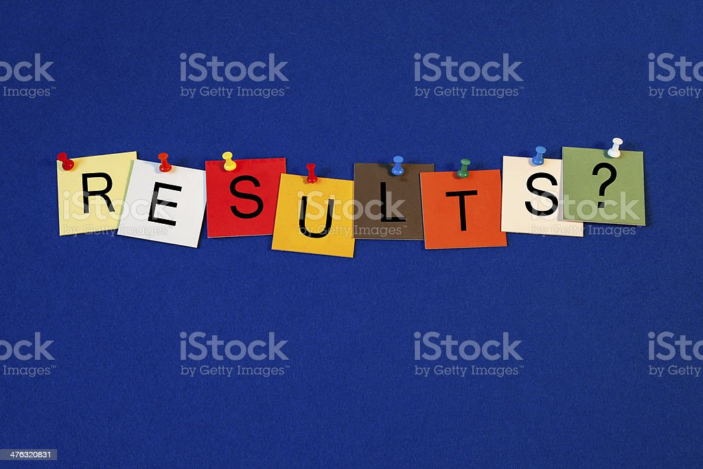 Results - sign series for education, business and science. stock photo