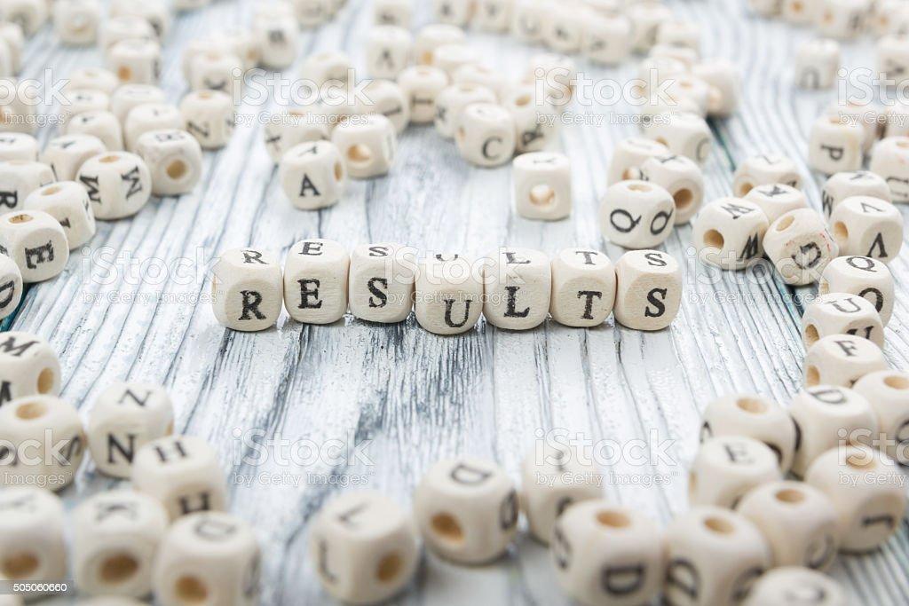 Results word written on wood block stock photo