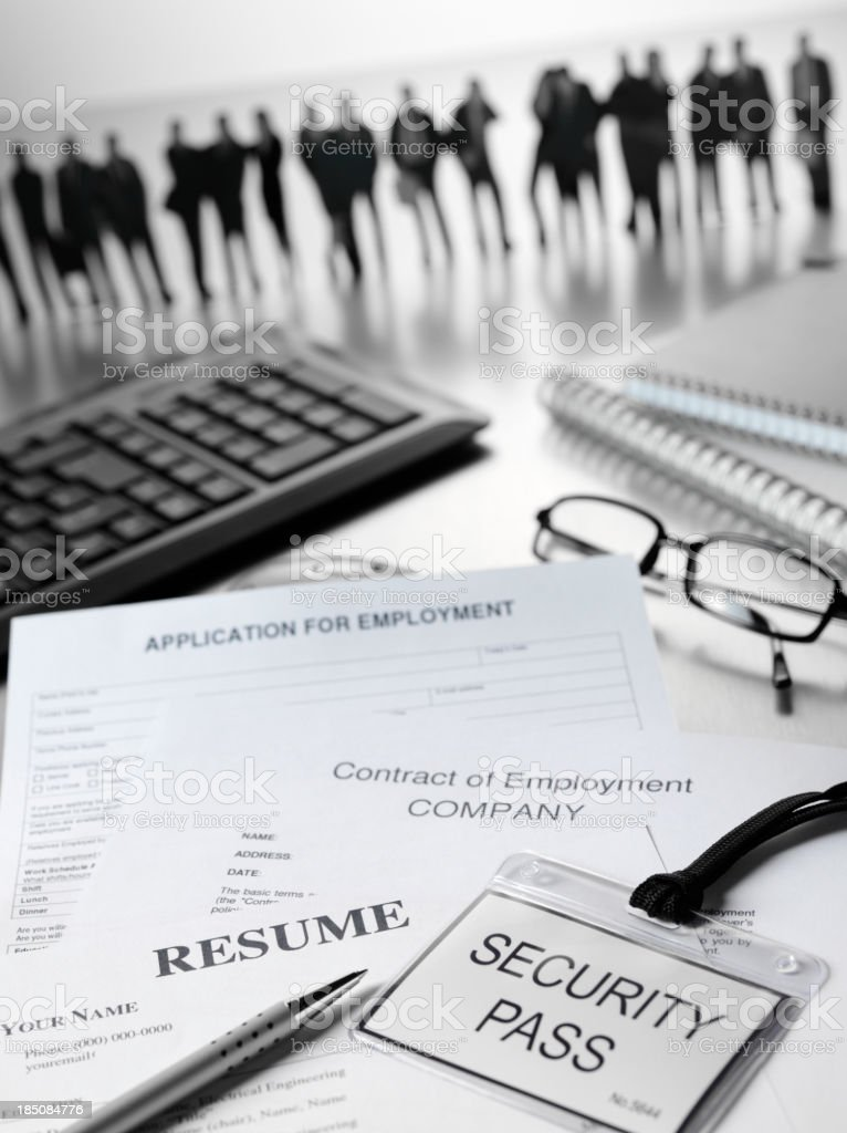 Resume and Application for Employment Work Force royalty-free stock photo