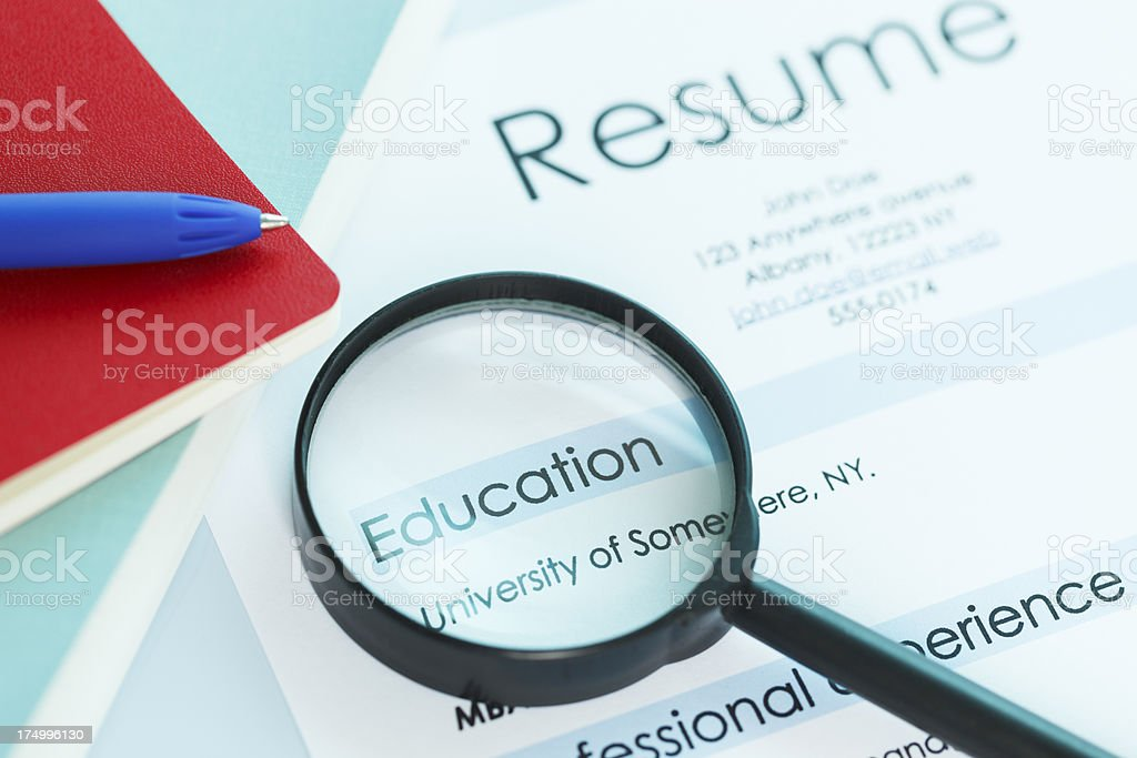 Resume and education stock photo