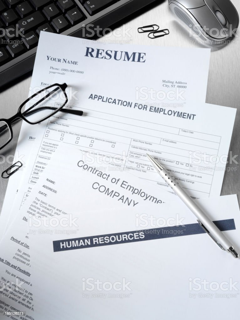 Resume and Employment Application Form stock photo