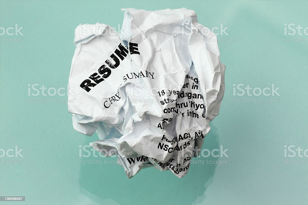 resume crumpled stock photo