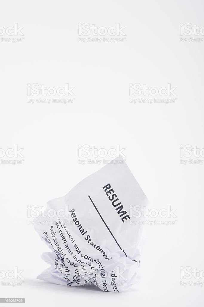 Resume On A Crumpled Ball Of Paper stock photo