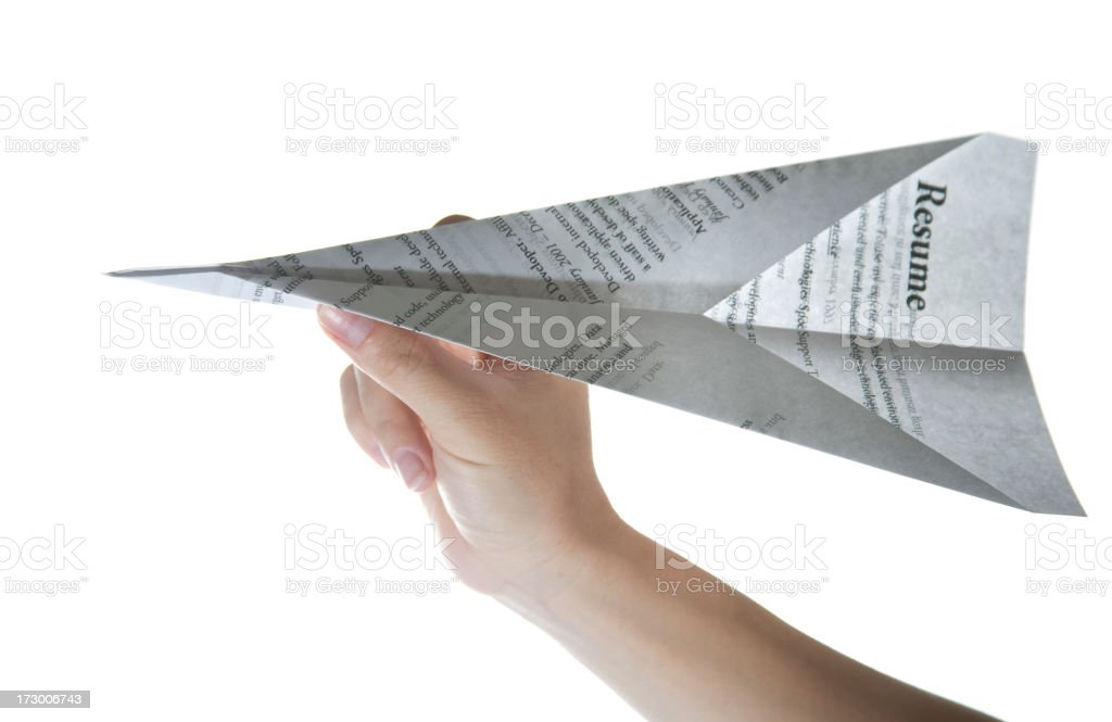 Resume Paper Airplane royalty-free stock photo