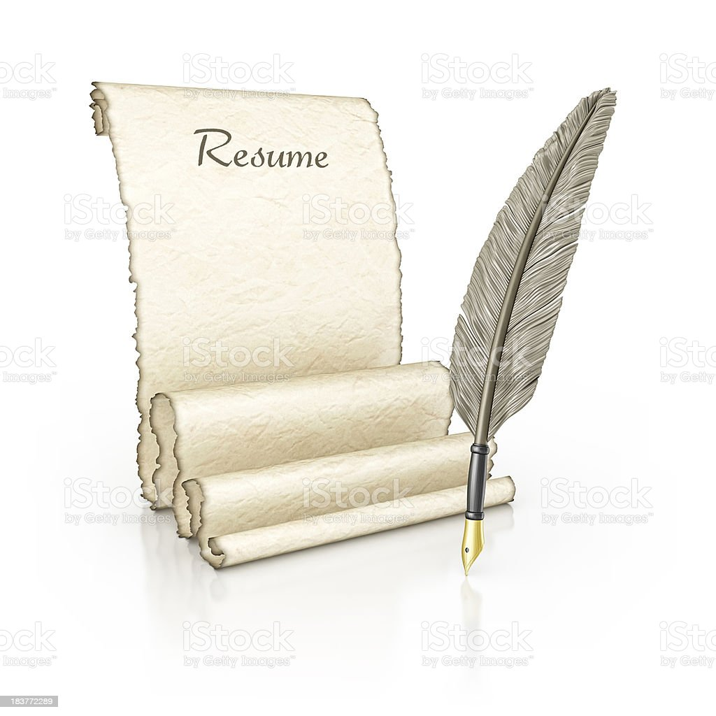 resume parchment royalty-free stock photo