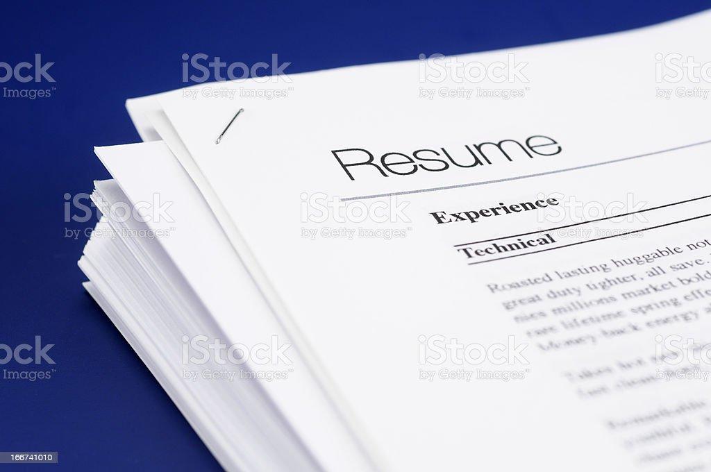 Resume stock photo