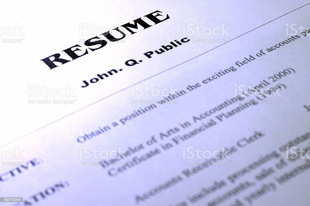 Resume #3 royalty-free stock photo