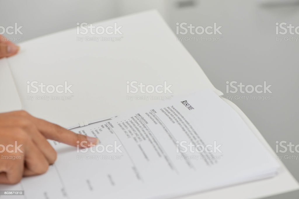 Resume selection for interview stock photo