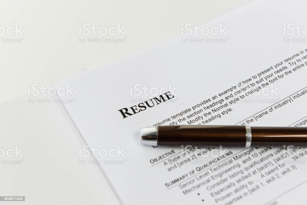 Resume Template for job interview stock photo