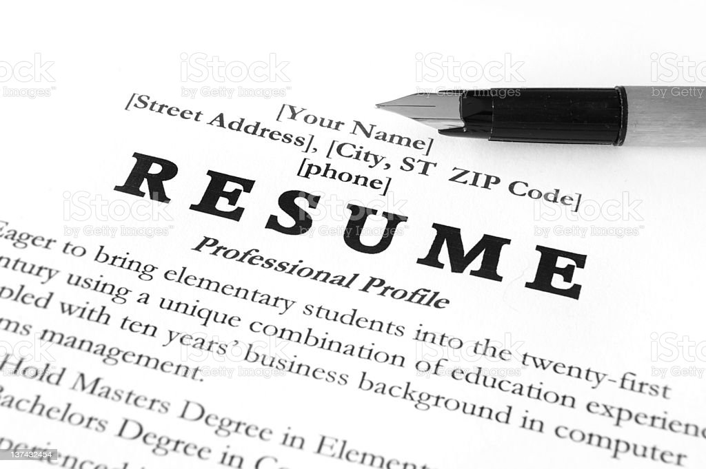 Resume template with a fountain pen royalty-free stock photo