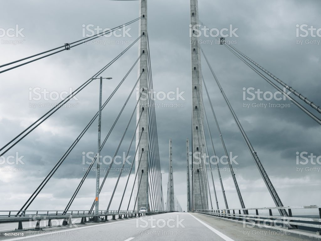 Öresundsbron Oresund Bridge between Malmö Copenhagen stock photo