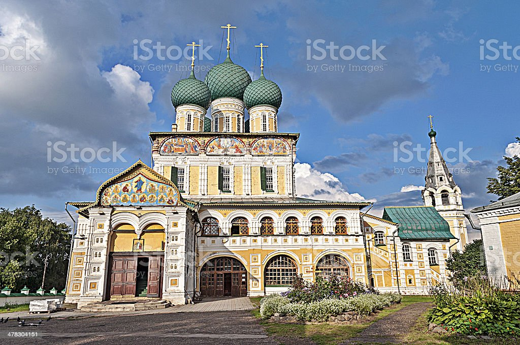 Resurrection Cathedral in Tutaev, Russia stock photo