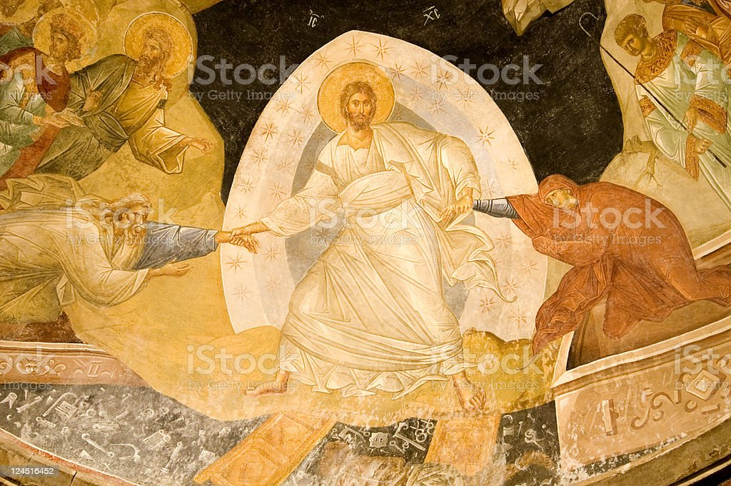Resurrection fresco in Chora Church Istanbul Turkey stock photo