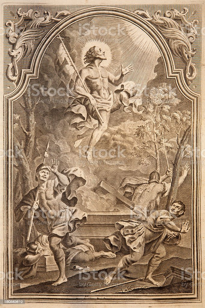 Resurrection. Lithography print in Missale romanum stock photo