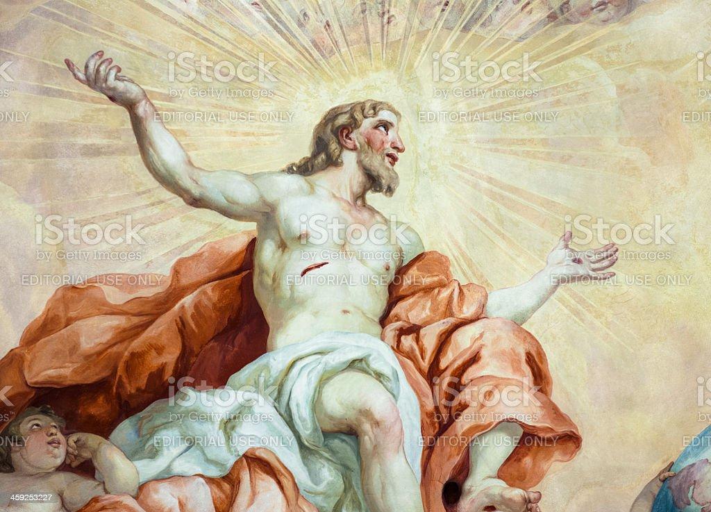Resurrection of Christ Fresco Painting stock photo