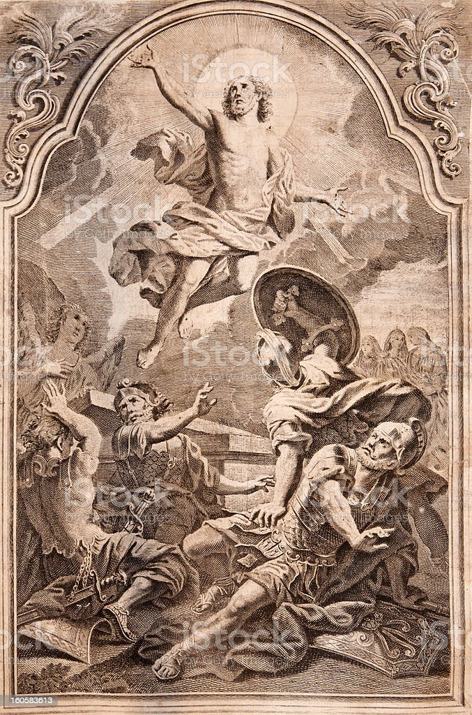 Resurrection of Christ. Lithography print in Missale romanum royalty-free stock photo