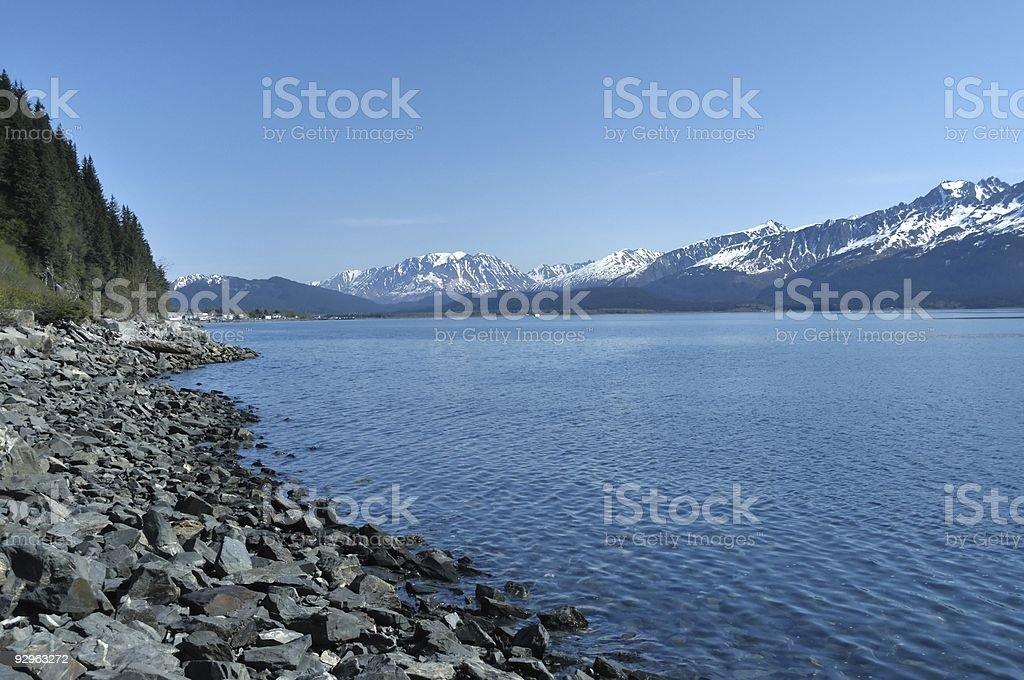 Resurrecttion Bay At Seward Alaska stock photo