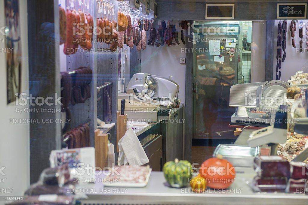 Retail Butcher Shop in Zurich Switzerland royalty-free stock photo
