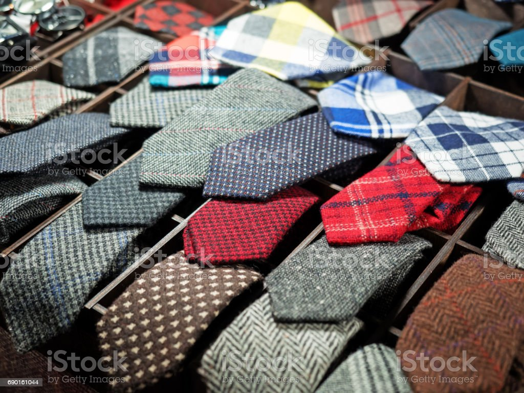 Retail display of handmade ties, shallow depth of field stock photo