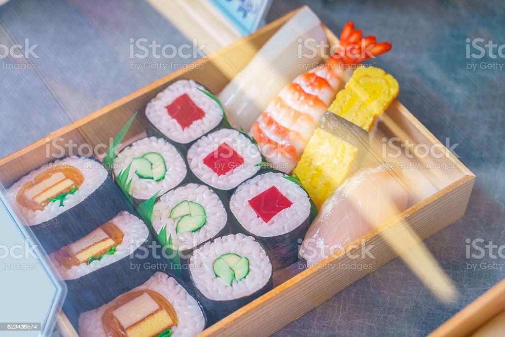 Retail display of Sushi box stock photo