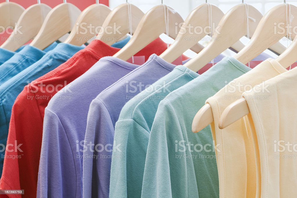 Retail Fashion Store- with Clothing on Display Rack royalty-free stock photo