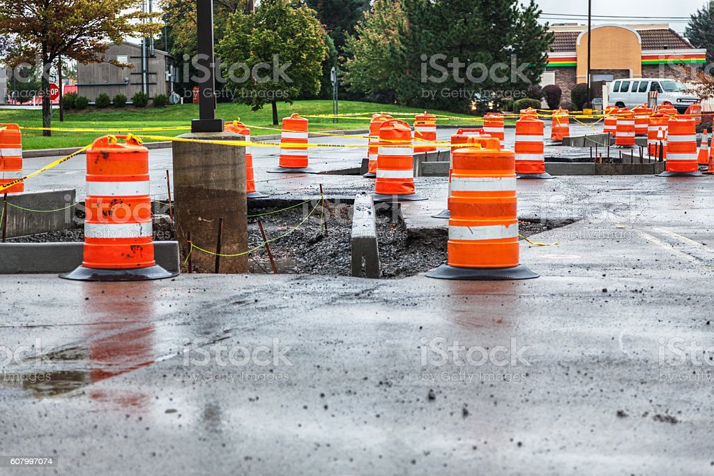 Retail Parking Lot Concrete Curb Road Construction Zone stock photo