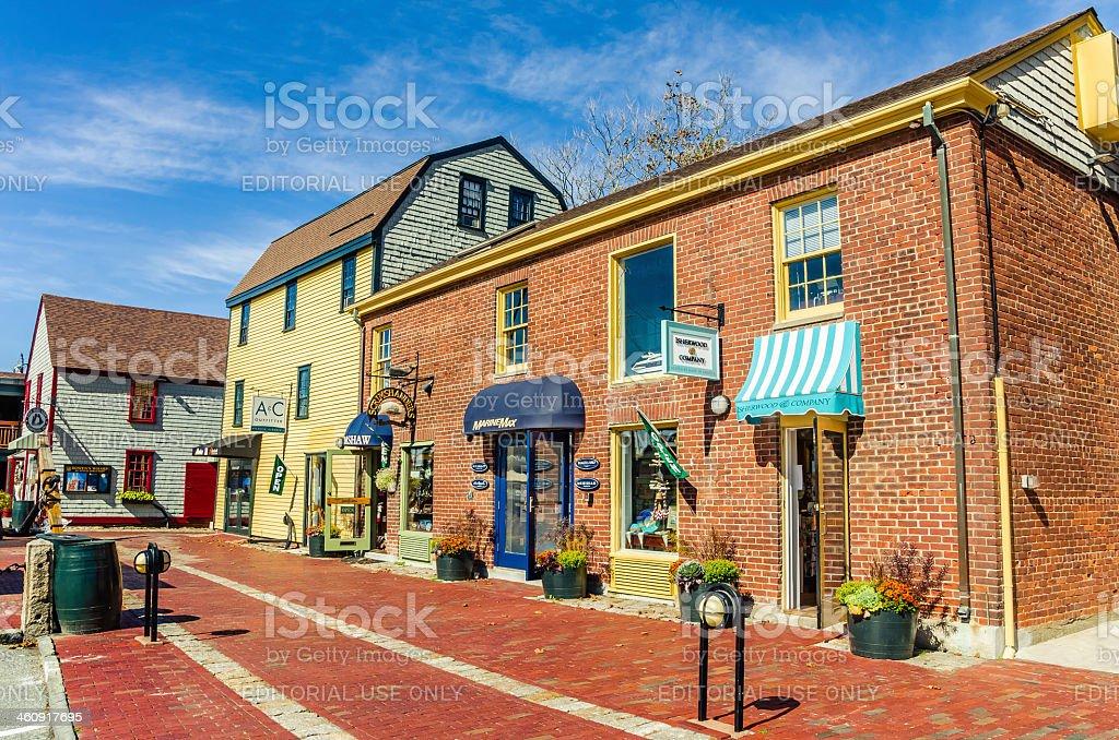 Retail Shopfronts at Bowen's Wharf, Newport, RI stock photo