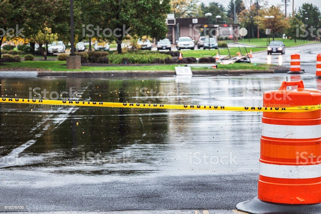Retail Shopping Mall Parking Lot Road Construction Zone stock photo