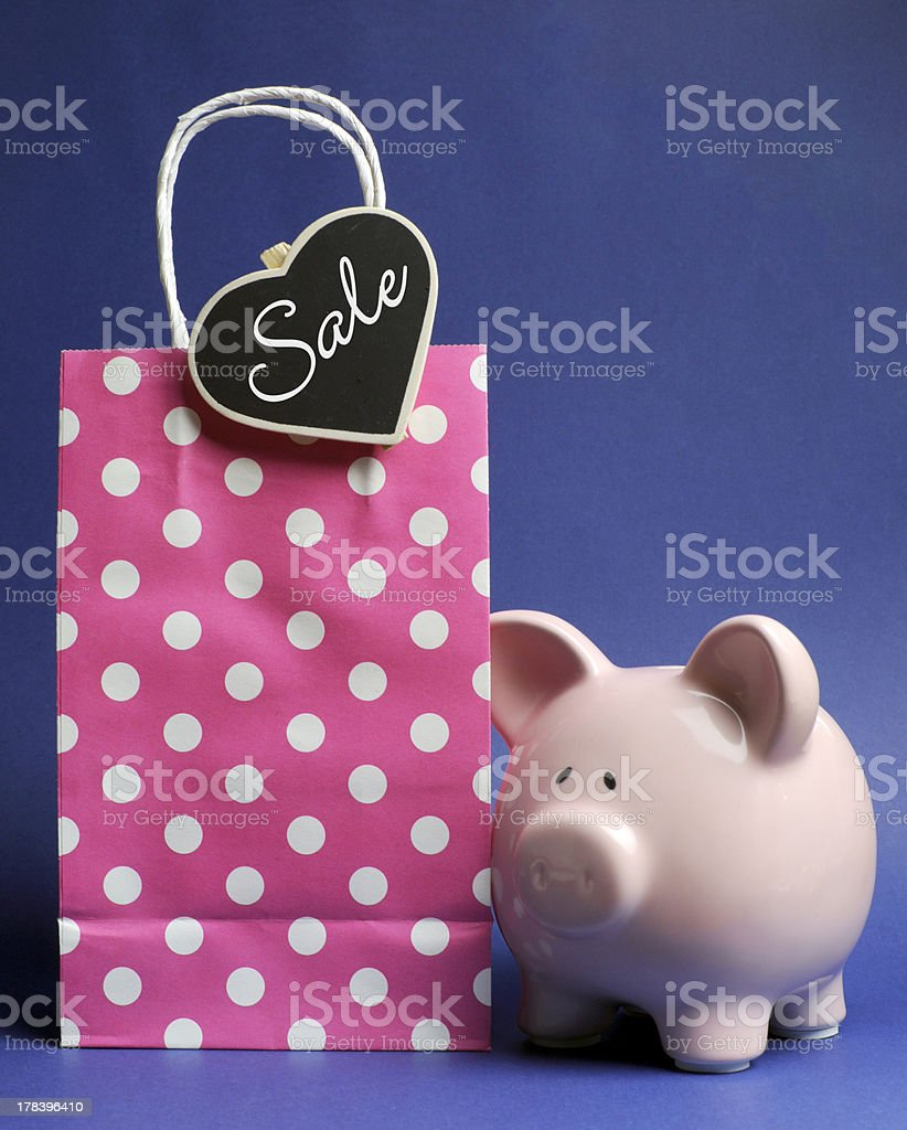Retail Shopping Sale bag and piggy bank royalty-free stock photo