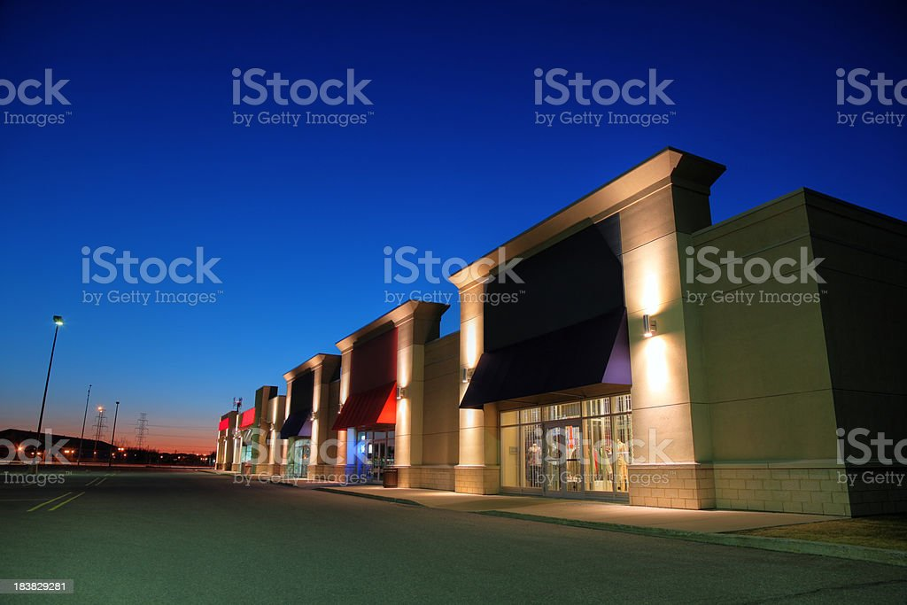 Retail Store Building Exteriors at Night stock photo
