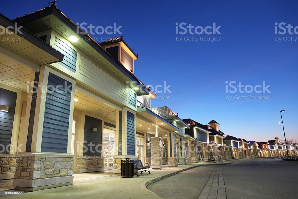Retail Store Building Exteriors at Sunset stock photo