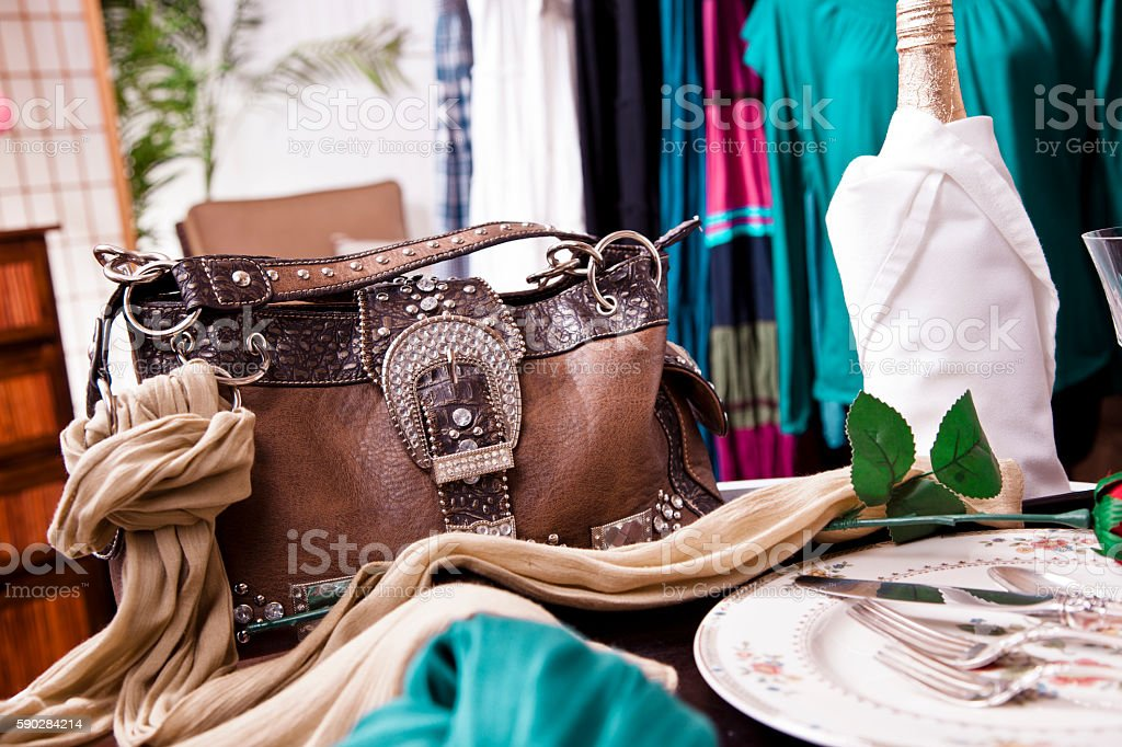 Retail store window display in a clothing boutique. stock photo