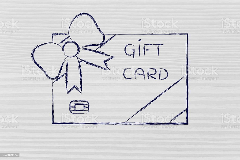 retailer's gift card with bow stock photo