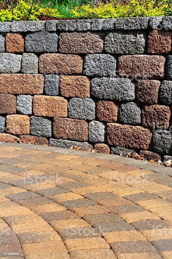 Retaining wall and patio stock photo