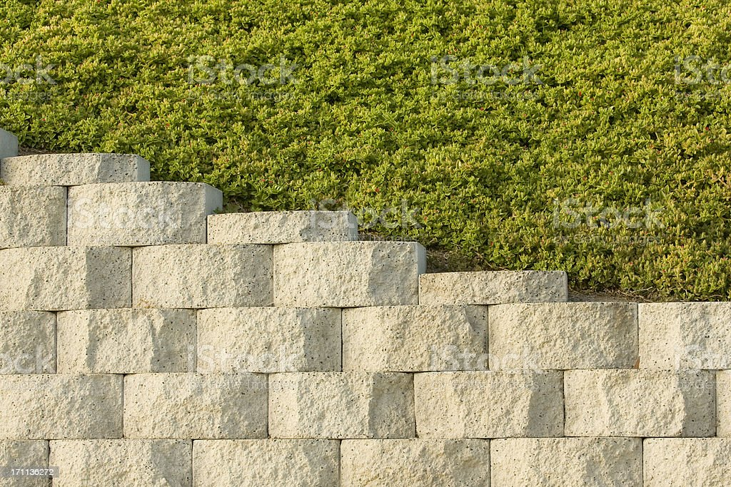 Retaining Wall and Plantings Above, Background, Pattern, Diagonal royalty-free stock photo