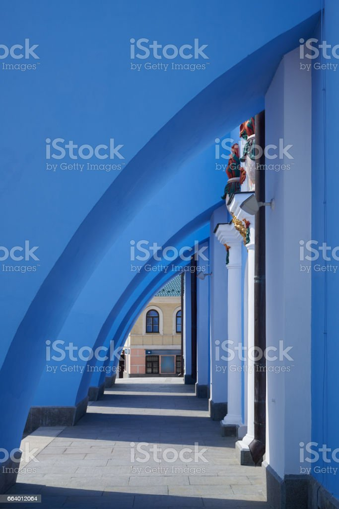 Retaining walls blue orthodox cathedral stock photo