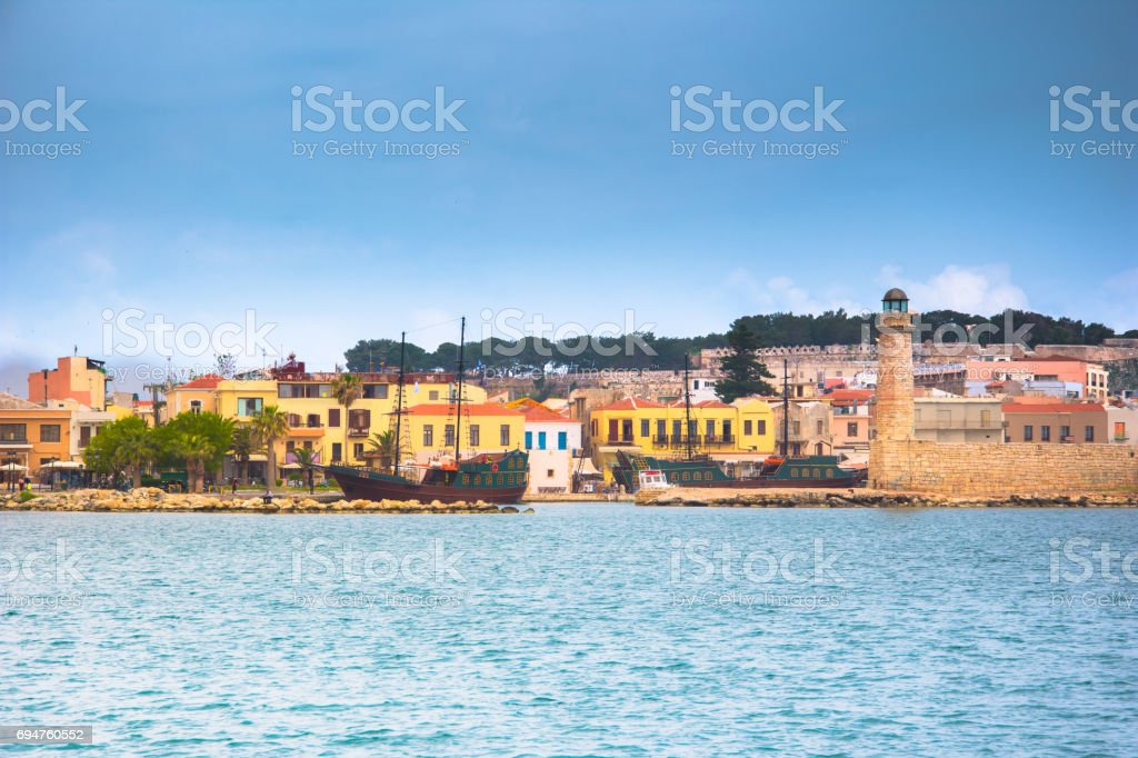 Rethimno city at Crete island in Greece. The old venetian harbor. stock photo