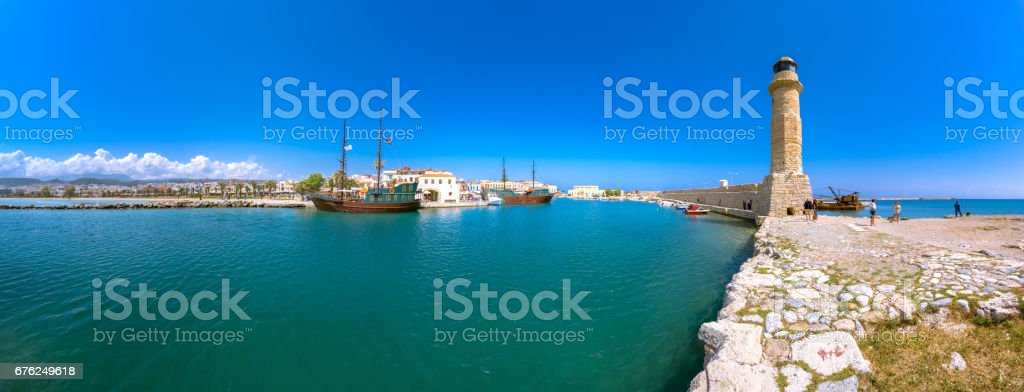 Rethymno city at Crete island in Greece. The old venetian harbor. stock photo