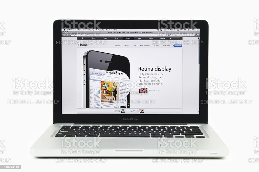 Retina Display for iPhone Four Featured on MacBook Pro royalty-free stock photo