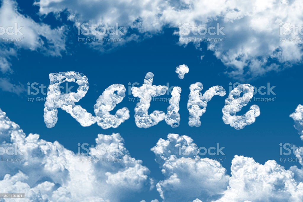 Retire word on cloud vector art illustration