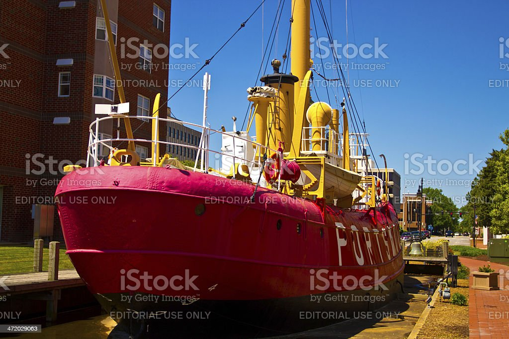 Retired Coast Guard Lightship Portsmouth, located in Virginia, USA stock photo
