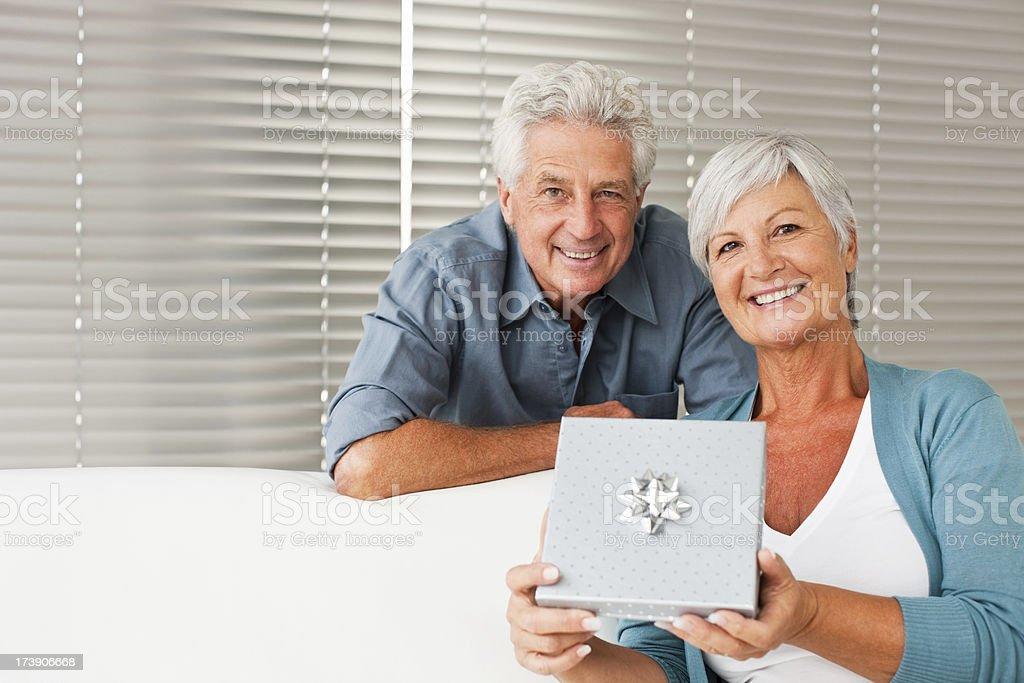 Retired couple celebrating valentine's day royalty-free stock photo
