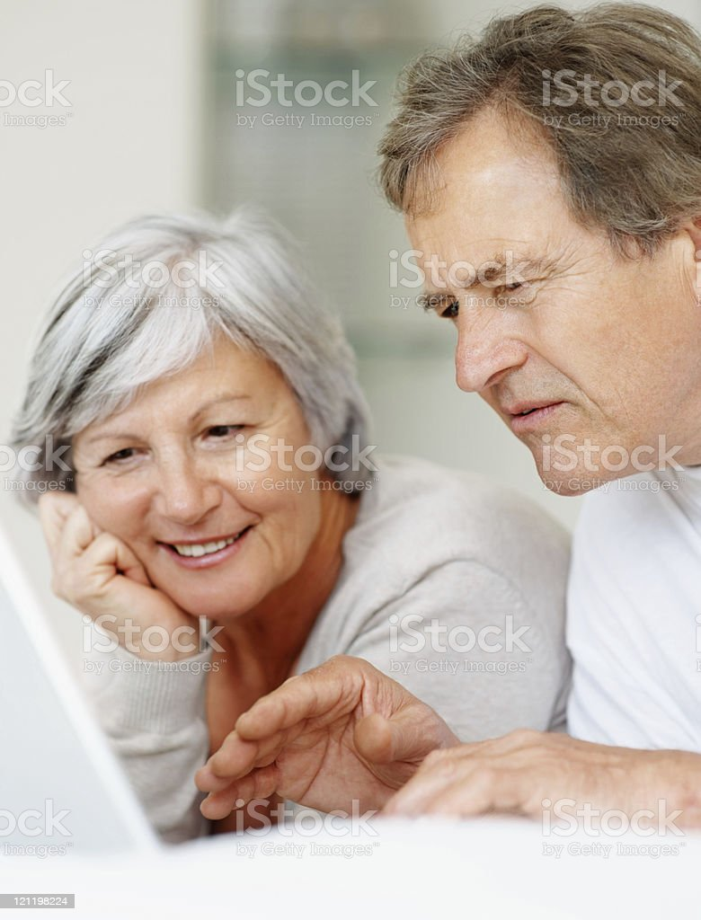 Retired couple using a laptop royalty-free stock photo