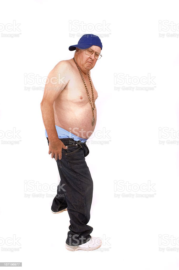 retired guy embraces hip-hop stock photo