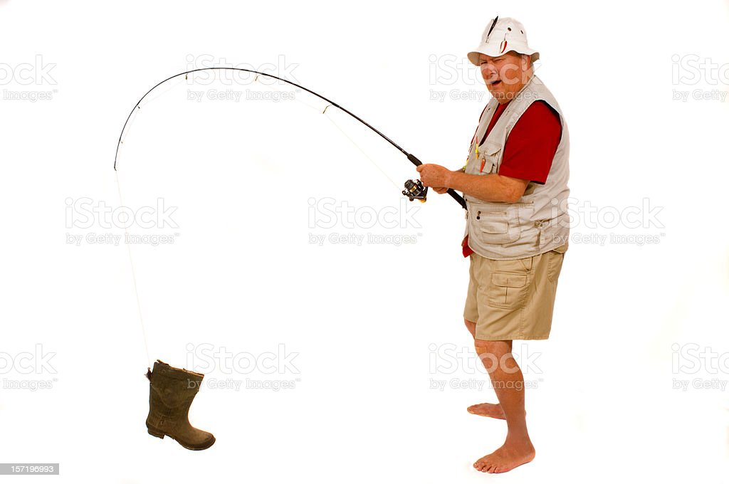 retired guy goes fishing royalty-free stock photo