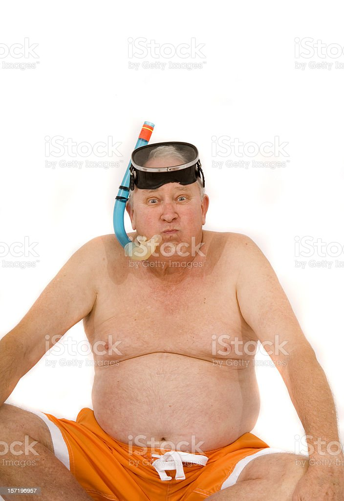 retired guy goes snorkeling royalty-free stock photo