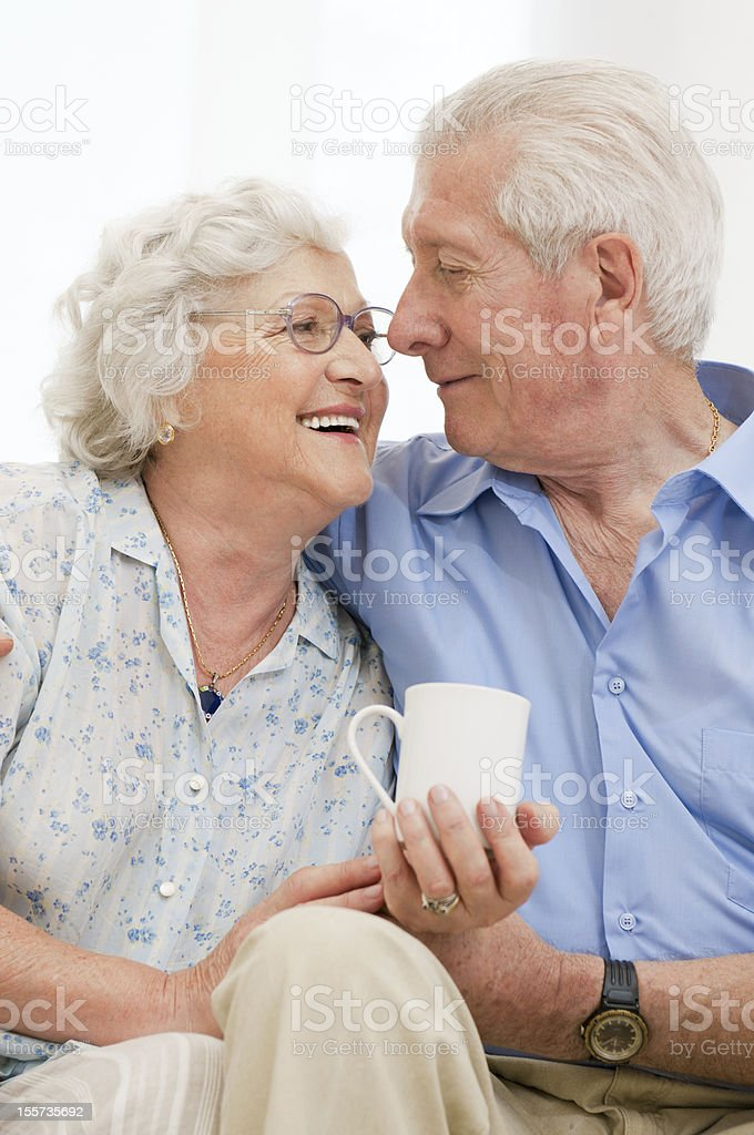 Retired loving aged couple royalty-free stock photo